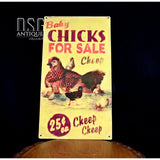 Baby Chicks For Sale Cheep Sign/tin Chickens Rooster Advertising 14 * 7.75
