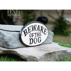 Beware Of Dog-Oval Cast Iron Sign-Vintage Style Sign-Memorabilia Sign-Dog Warning Sign Canine Danger Sign- Hand Painted