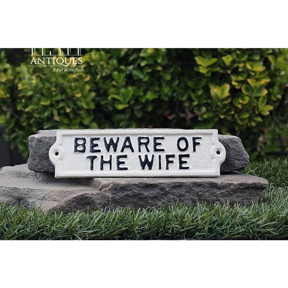 Beware Of Wife Sign-Funny Sign-Novelty Sign-Bachelorette Gift-Specialty Sign-Shabby Chic-Primitive Sign-Womens Rights