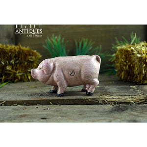 Cast Iron Pig Pink Collectible Farm Country Decor Kitchen Figurine Primitive
