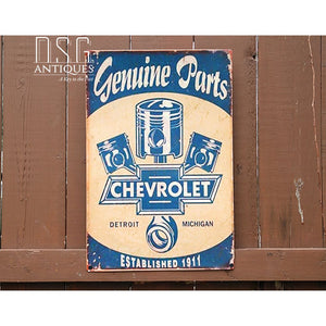 Chevrolet Genuine Parts Large Tin Sign Sign Memorabilia Car Parts Advertising Vintage Chevy 1911 Collectible