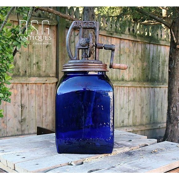Dazey Vintage Style #80 X-Large Cobalt Blue-Butter Churn-Kitchen Decor-Vintage Churn-Dazey Churn Butter