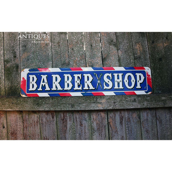 Heavy Tin Barber Shop Sign-Barber Pole Sign-Haircut Sign-Vintage Sign-Tin Sign-Vintage Advertisement-Collectible Sign-Primitive Sign