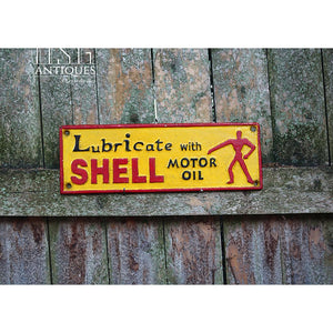 Lubricate With Shell Motor Oil Sign Vintage Style Muscle Car Advertisement London 1937 Stamp