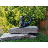 Mermaid Lounging Large Cast Iron Statue Nautical Mythical Creature Beach Decor