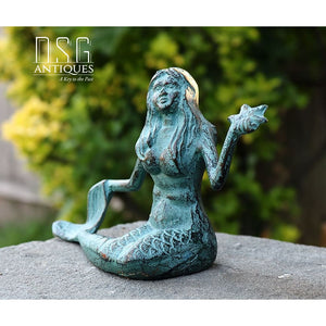 Mermaid Statue Verdigris Mermaid Cast Iron Mermaid Beach Decor Outdoor Mermaid Mermaid
