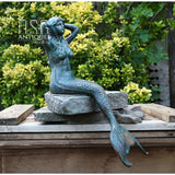 Mermaids Sitting Statue Cast Iron Turquoise Mermaid Large Mermaid Mermaid Verdigris Statue Mermaid