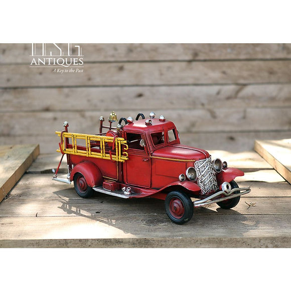 Metal Fire Truck Vintage Handmade Hand Painted Fire Truck Collectors Car