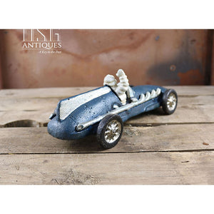 Michelin Man Hubley 1934 In Blue Race Car Cast Iron Collectible