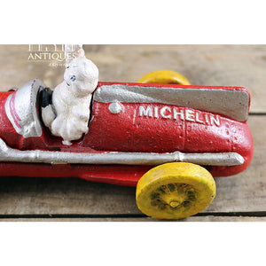 Michelin Man Hubley 1934 In Red Race Car Cast Iron Vintage Bibendum Advertisement Collectible