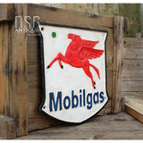 Mobil Gas Cast Iron Sign Vintage Gas Oil Advertising Antique Mobil Gas Badge Sign Cast Iron Sign