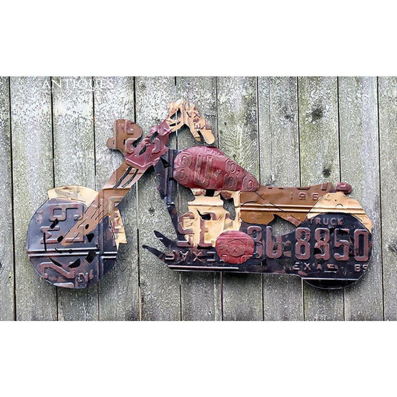 Motorcycle License Plate Tag Art Harley Davidson Wall Hanging Decor