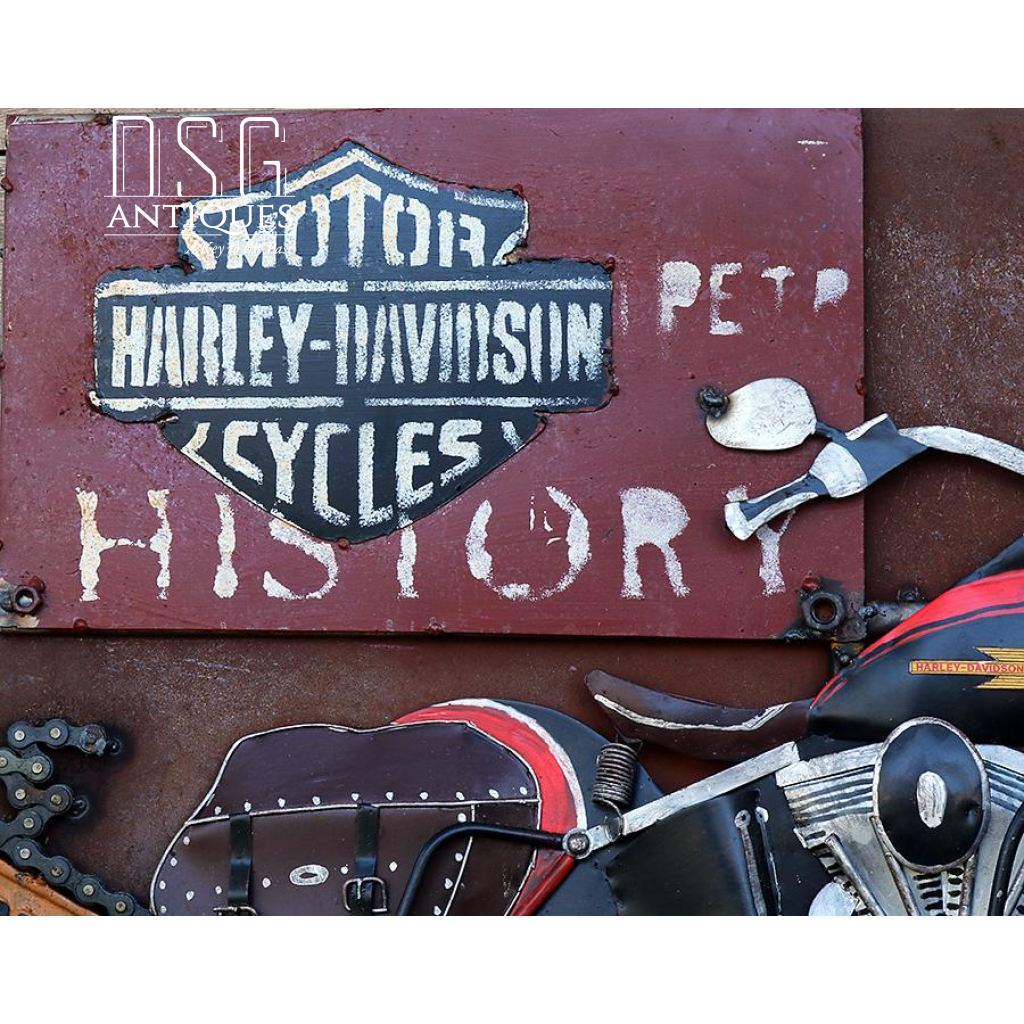 ... Motorcycle Wall Art Harley Davidson History Metal Bike Art 3D Biker  Memorabilia Metal Wall ...