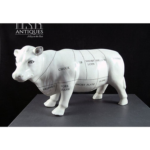 Porcelain Butchers Cow Statue Ceramic