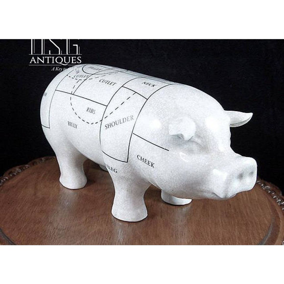 Porcelain Butchers Shop Pig-11 Inch Pig