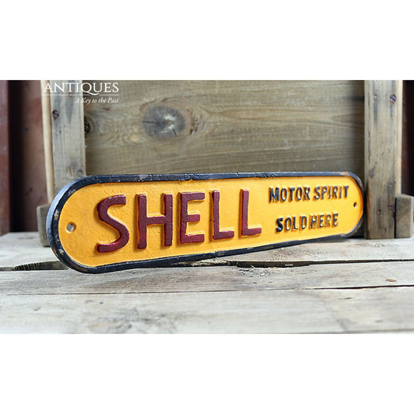 Shell Oil Sign Motor Spirits Sold Here Vintage Style Cast Iron