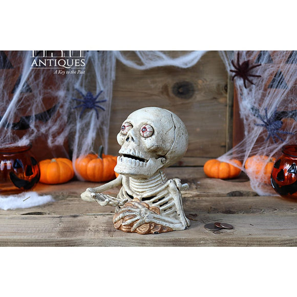 Skeleton Money Bank Cast Iron Skeleton Bank Antique Skeleton Bank Skull Coin Bank Cast Iron Skull