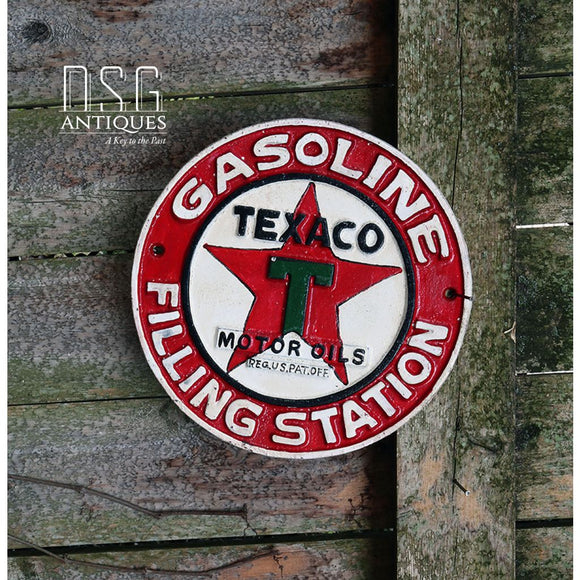 Texaco Motor Oils Sign Gasoline Filling Station Cast Iron Vintage Style