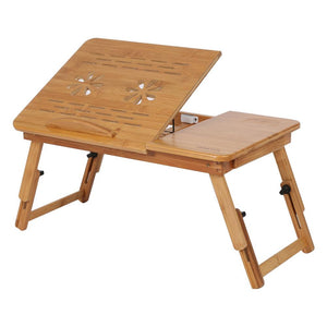 Attirant Laptop Table Tray, Adjustable Foldable Lap Desk Bed Serving Bamboo Rack  Shelf Dormitory Bed Table
