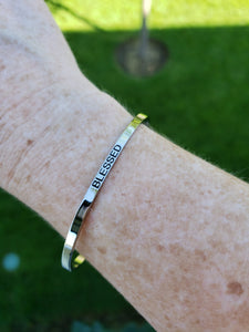 """Blessed"" BE Band Stainless Steel  Silver Plated Engraved Bangle"