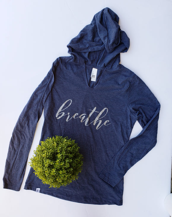 Breathe Long Sleeve Heathered Navy Women's Hooded Tee
