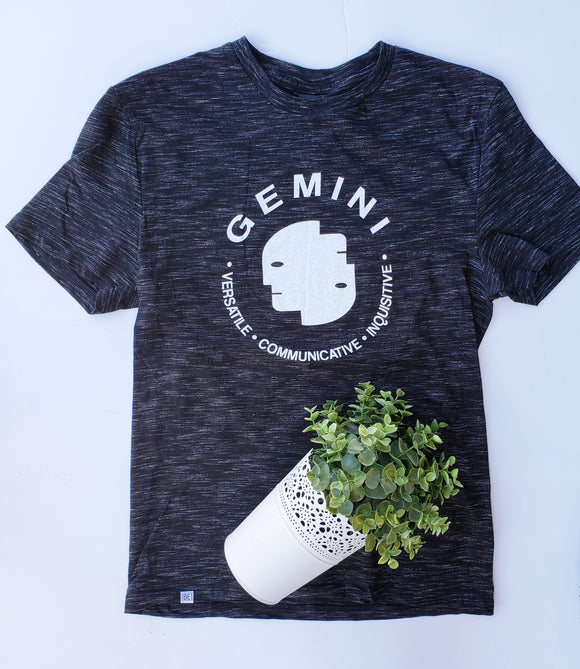 GEMINI Zodiac Tee (May 21 - Jun 20) Black Medal UNISEX Crew-neck