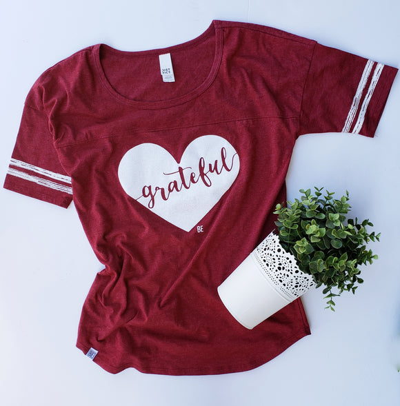 Grateful Heart Burgundy Striped Sleeve Tee