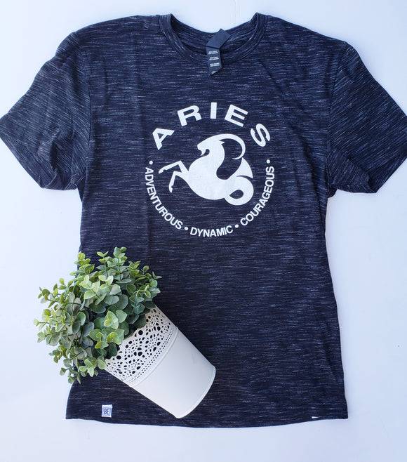ARIES Zodiac Tee (Mar 21 - Apr 19) Black Medal UNISEX Crew-neck