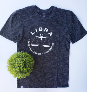 LIBRA Zodiac Tee (Sep 23 - Oct 22) Black Medal UNISEX Crew-neck