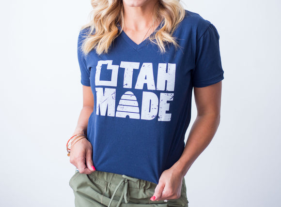 Utah Made Sueded Cotton Navy UNISEX V-neck Tee