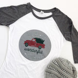 It's the Most Wonderful Time of the Year White & Gray 3/4 sleeve Women's Baseball Tee