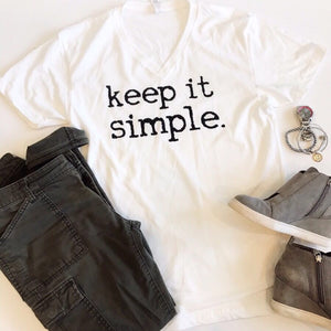 Keep it Simple Sueded Cotton White UNISEX V-neck Tee