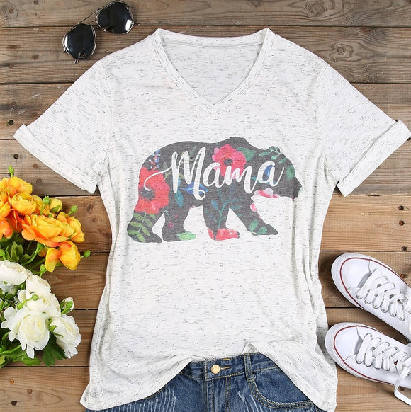Mama Bear Floral Women's V-neck Heathered White Tee