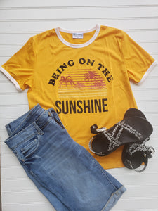 Bring on the Sunshine - Yellow crew neck tee