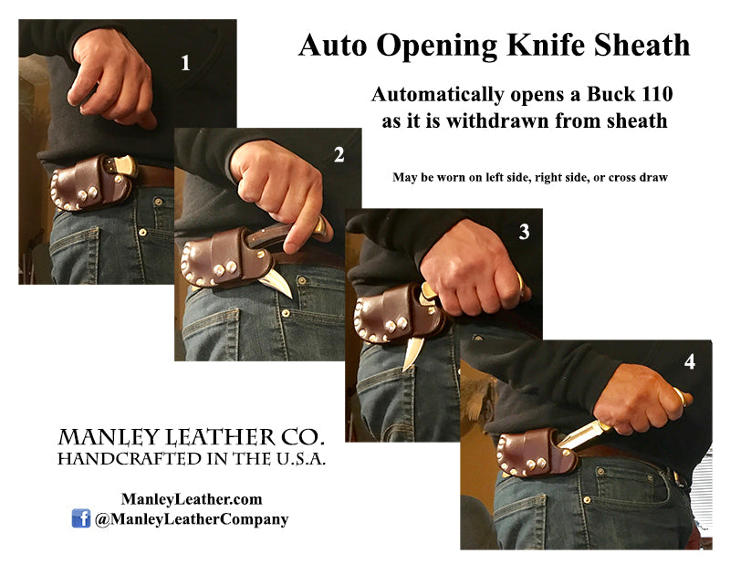 Buck 110 Auto Opening Sheath, Dark Brown, Brass Hardware