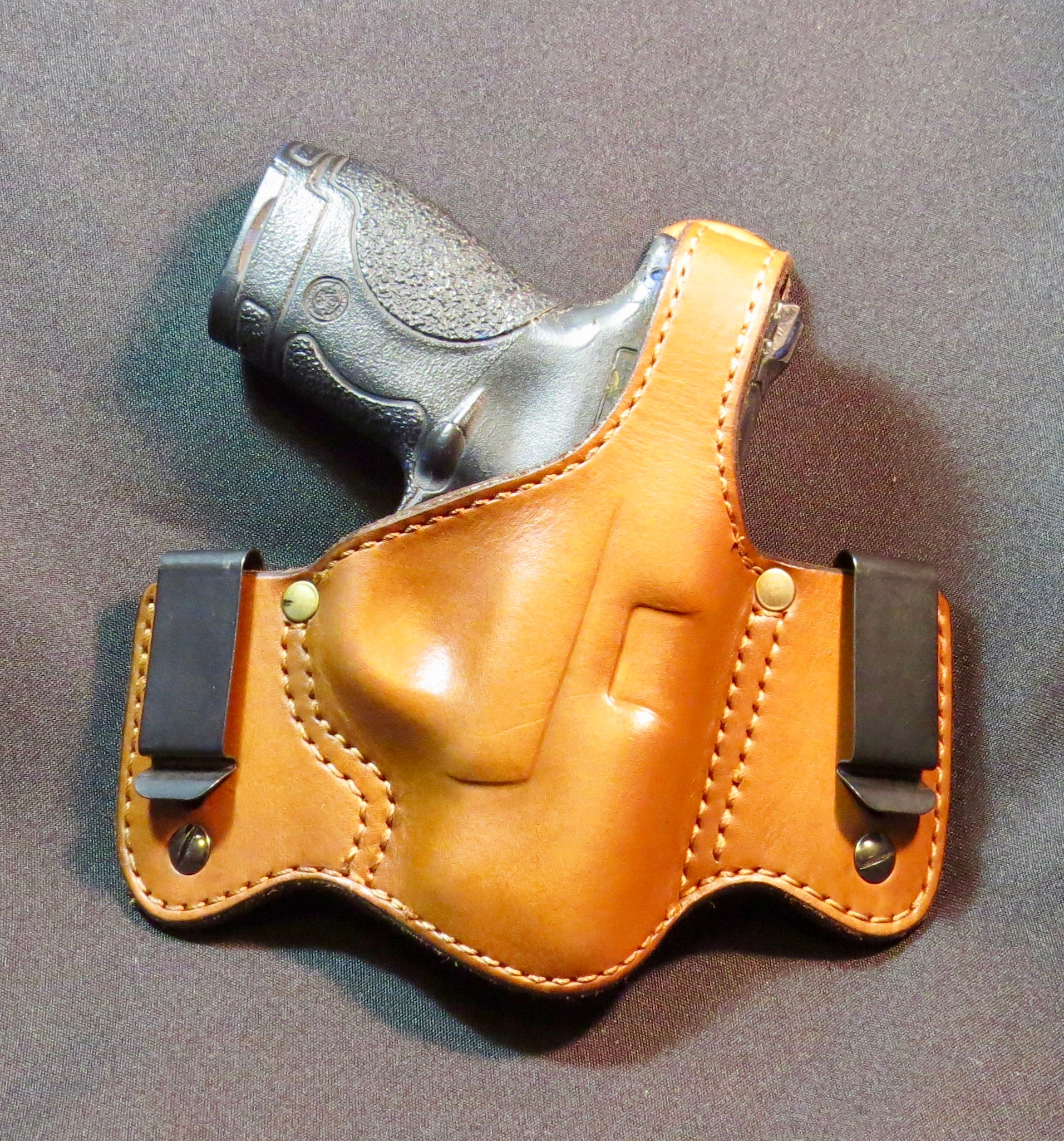 S&W M&P Sheild IWB or OWB Leather Holster with Thumb Break