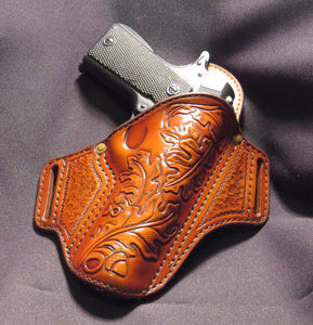 "1911 5"" Hand Tooled Oak Leaf Leather Holster"