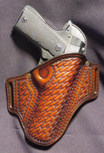"1911 5"" Hand Tooled Basket Weave Leather Holster"