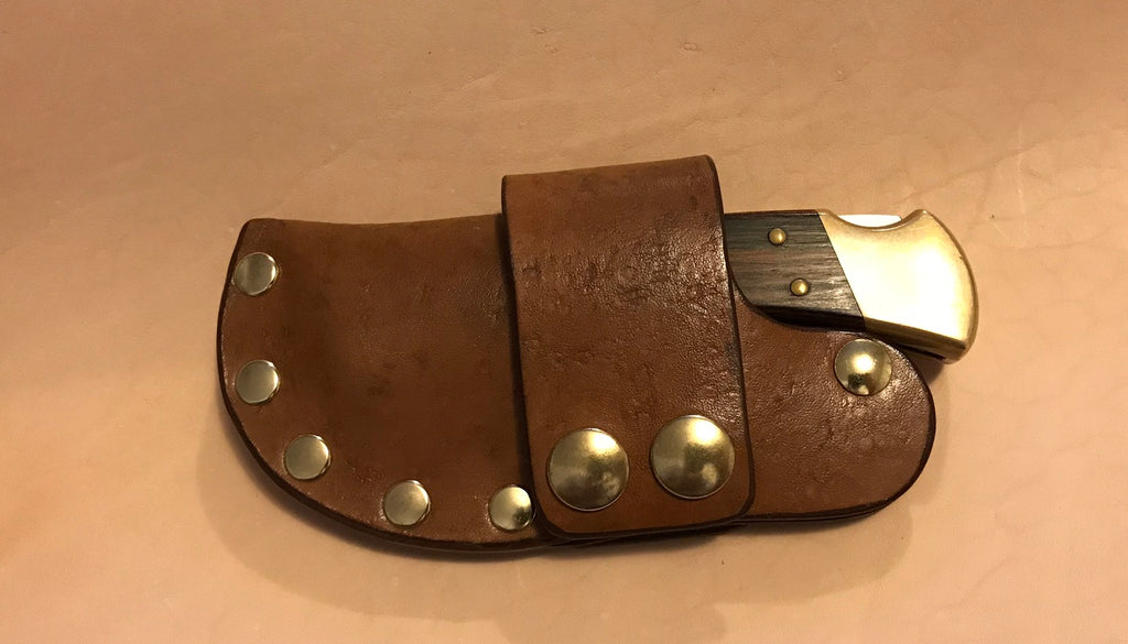 Buck 110 Auto Opening Sheath, Light Brown, Brass Hardware