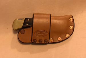 Buck 110 Auto Opening Sheath, Tan, Copper Hardware