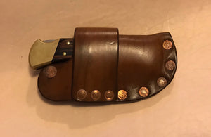 Buck 110 Auto Opening Sheath Light Brown, Copper Hardware