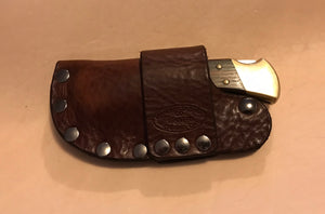 Buck 110 Auto Opening Sheath, Med Brown, Charcoal hardware