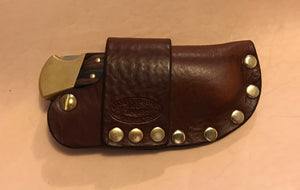 Buck 110 Auto Opening Sheath, Med Brown, Brass Hardware