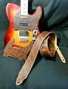 Guitar Strap and Telecaster Pickguard Set, American Bison Leather
