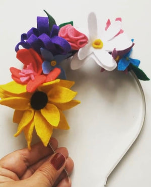 Felt flower hairband/crown - craft kit