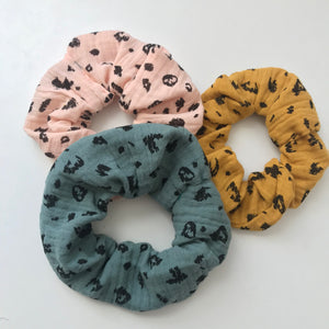 Leopard print cotton scrunchies