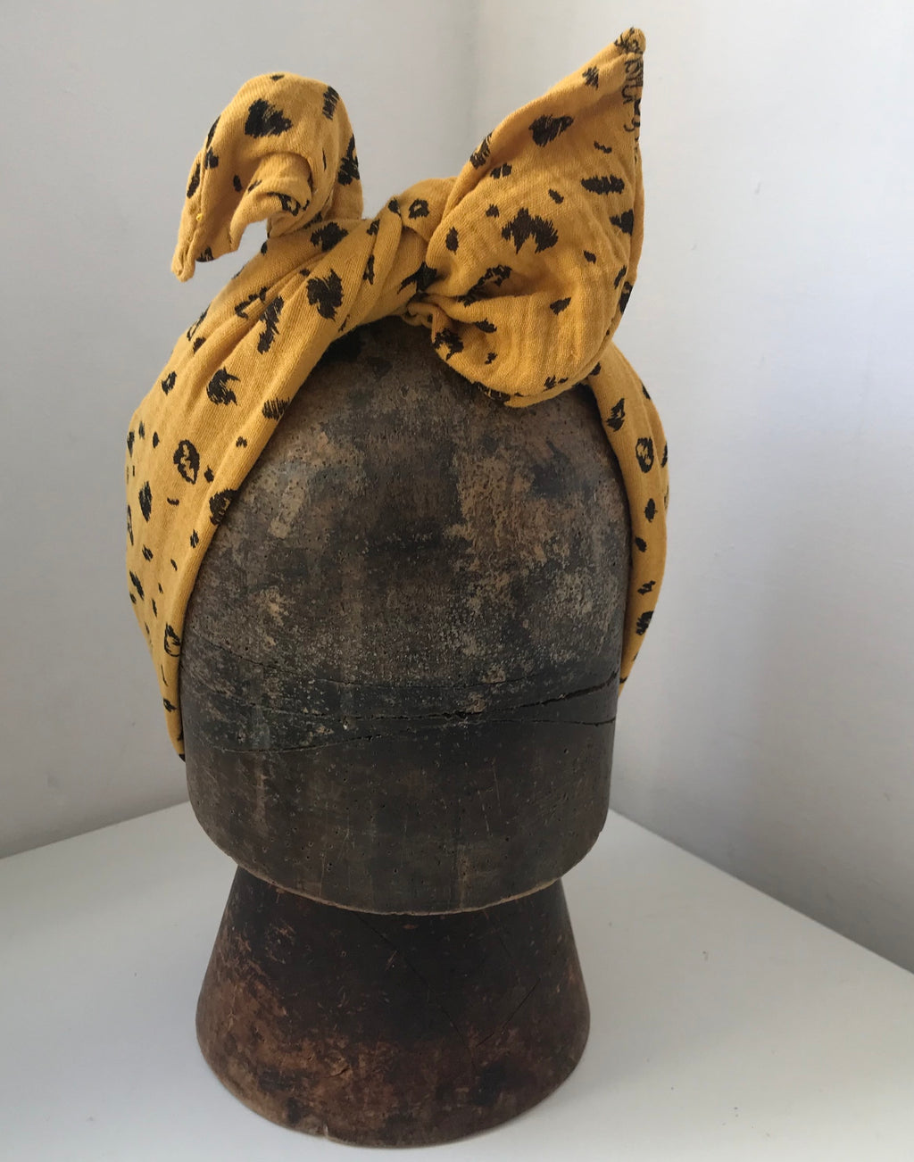 Leopard print - mustard yellow wired hairband