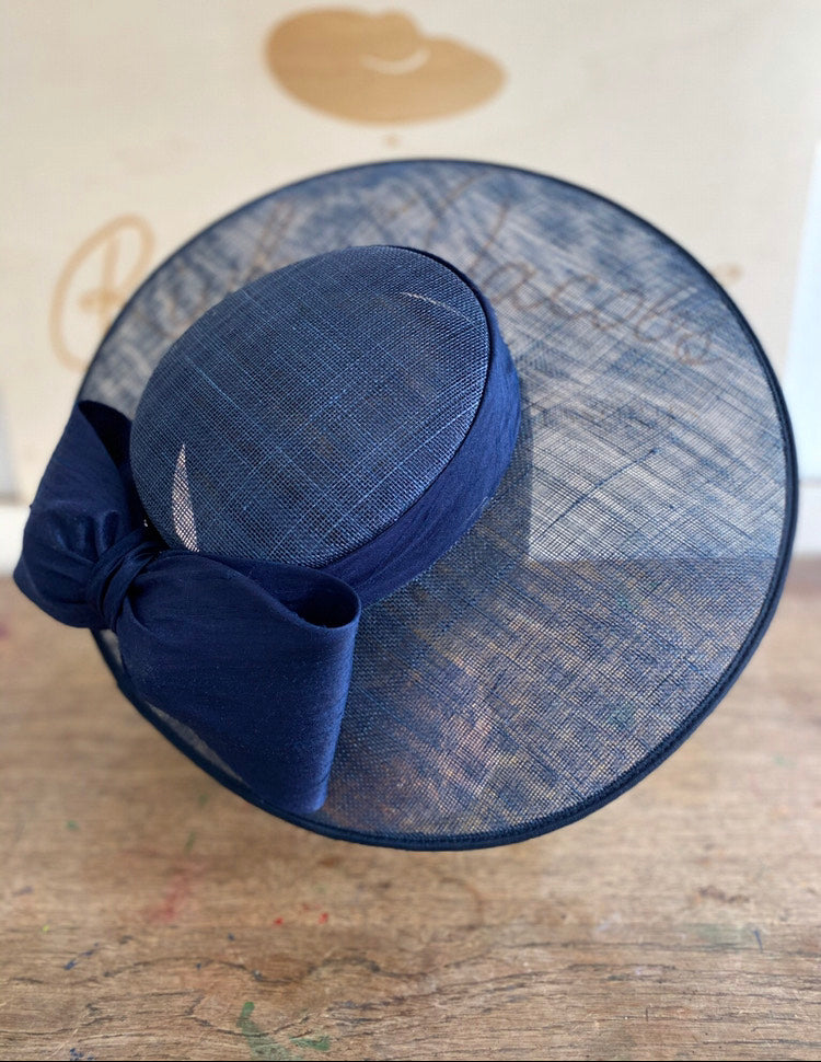 Navy wedding hat with silk navy bow