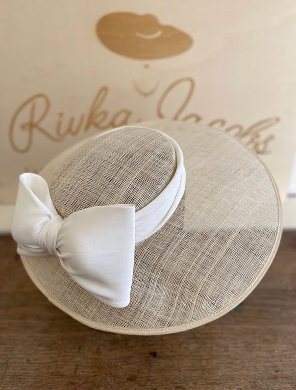 White wedding hat with silk white bow