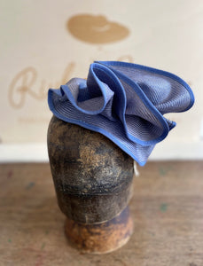 Blue straw sculptural hatinator/fascinator.